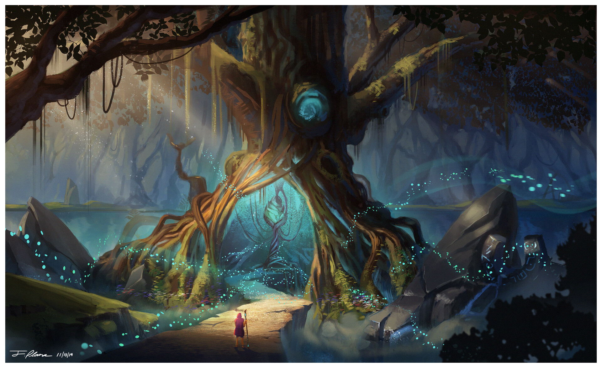 2D Artwork of a glowing magical tree