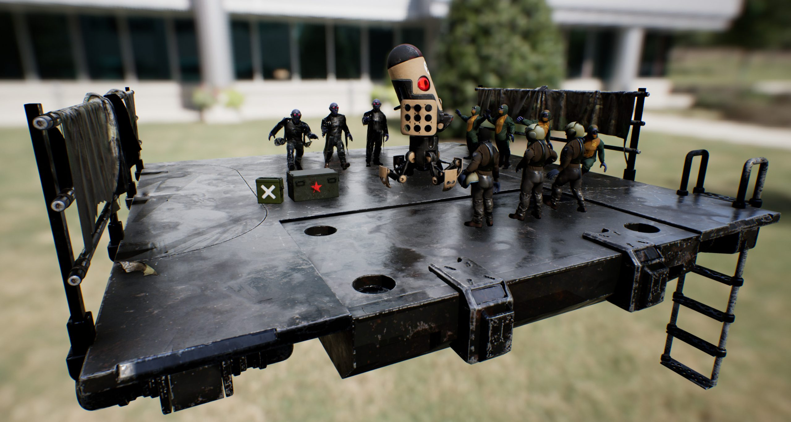 3D artwork of men in combat suits standing around a robot microphone on a stage