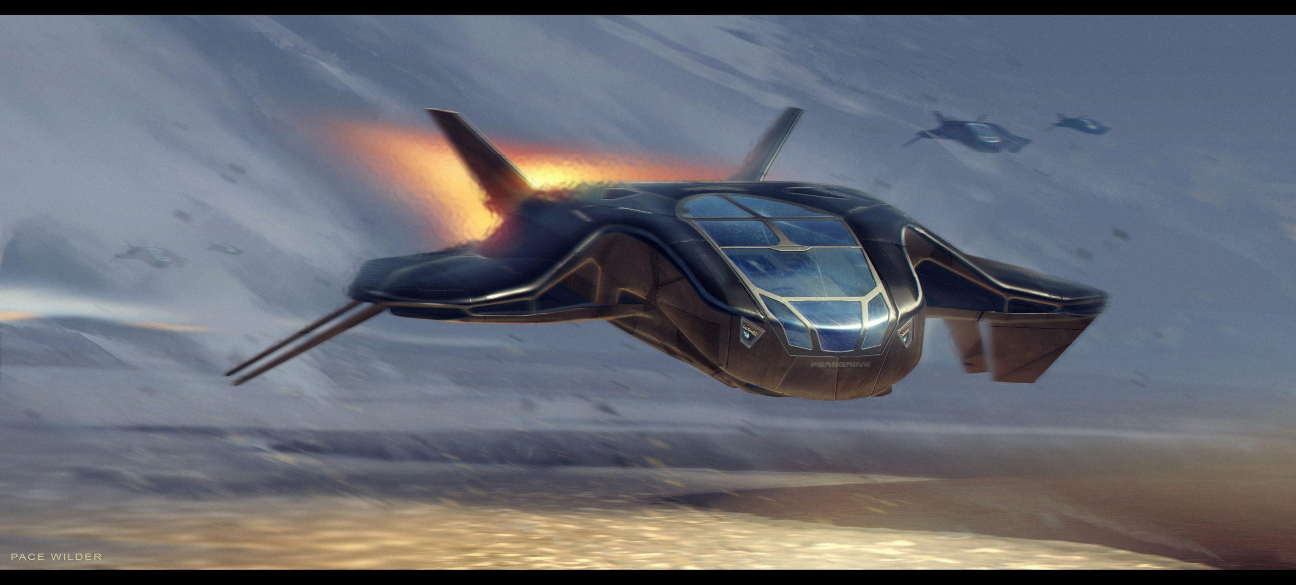Artwork of a futuristic space ship
