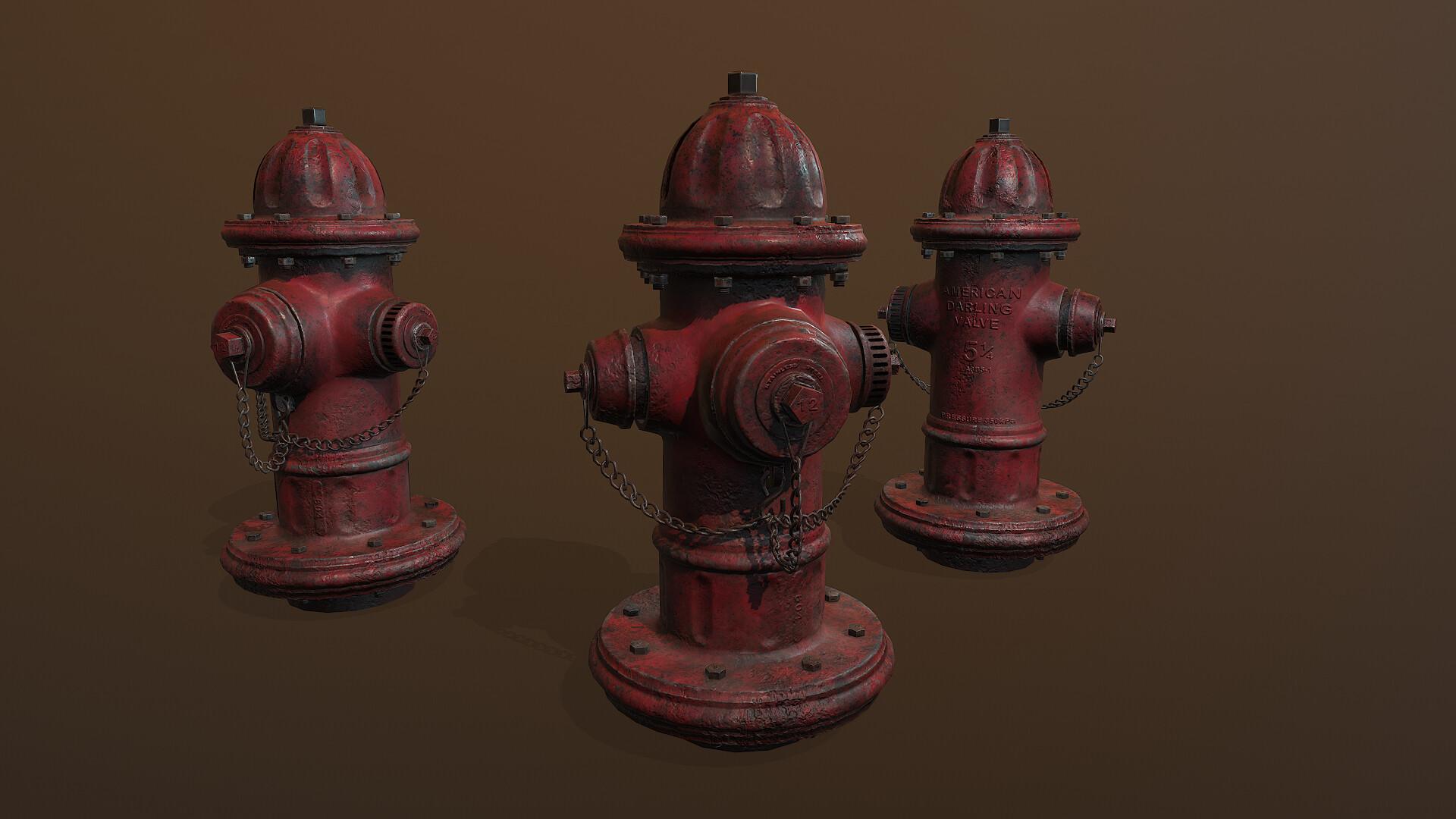 3D artwork of fire hydrants