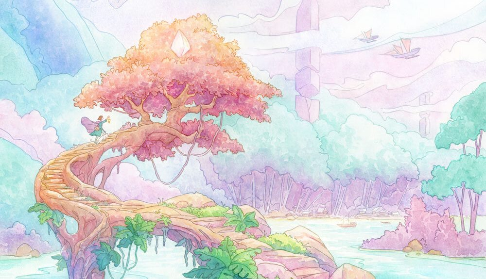 A fantastical watercolor scene with rainbow-like colors, clouds, and trees