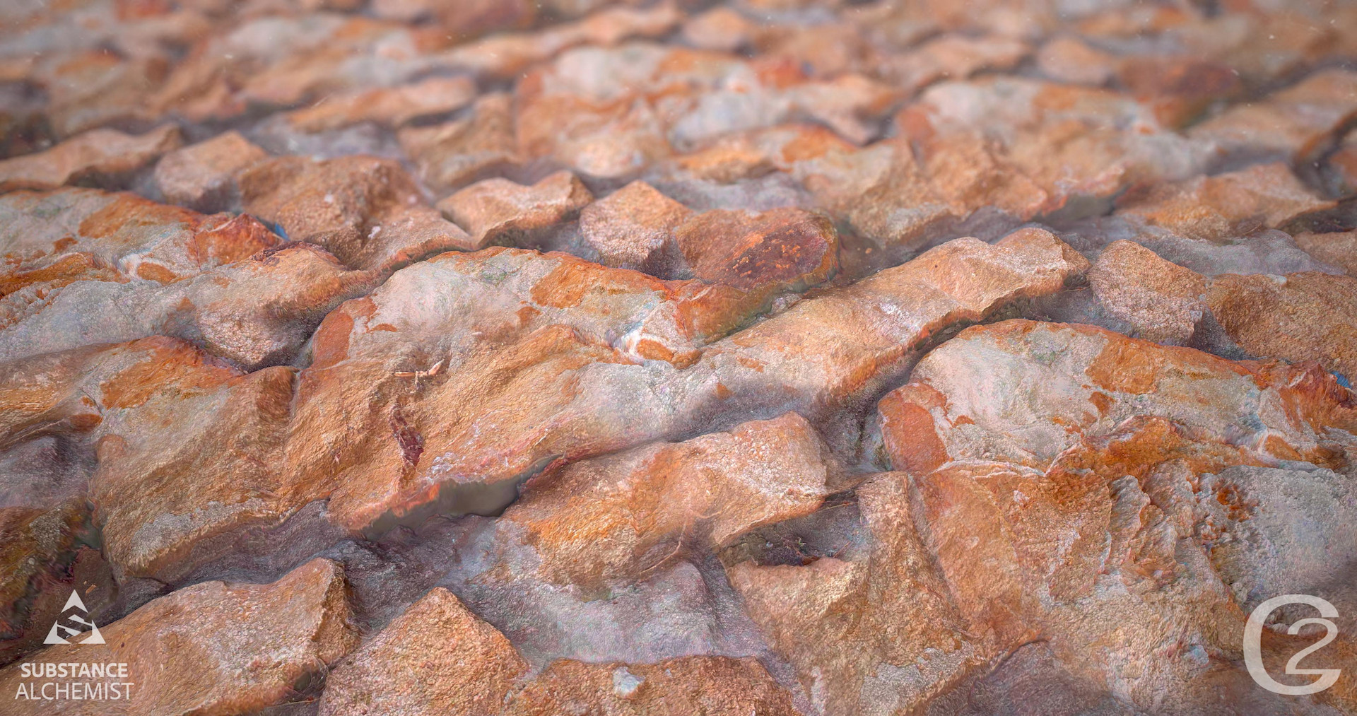 Close up of a red, rocky surface