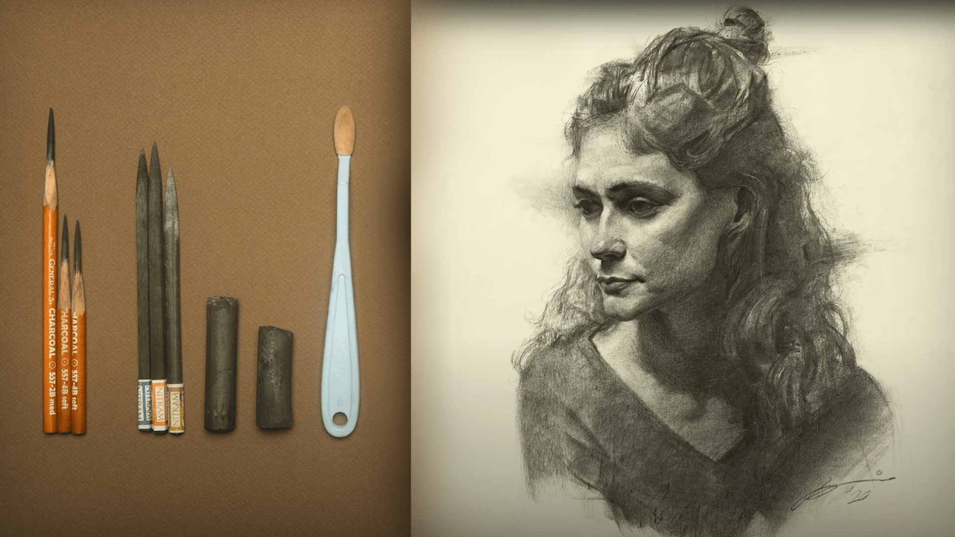 A charcoal portrait next to charcoal tools