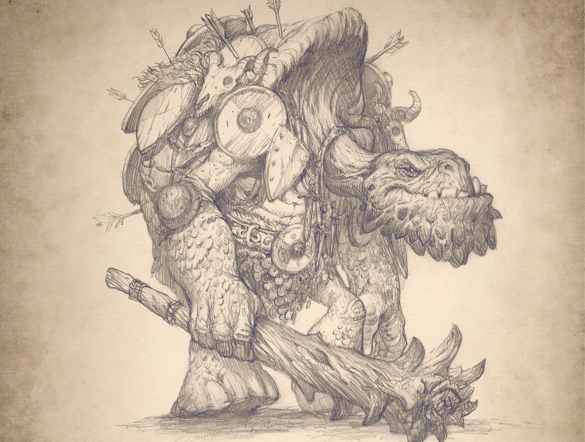 Pencil drawing of a turtle-like creature carrying a weapon and covered in shields