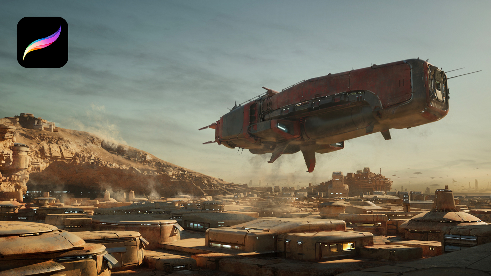 A giant space ship hovers over a dusty town