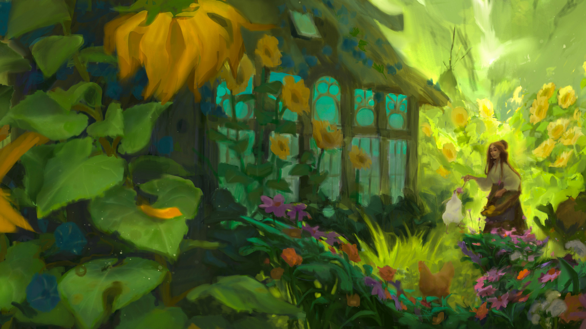 Illustration of a garden with many plants