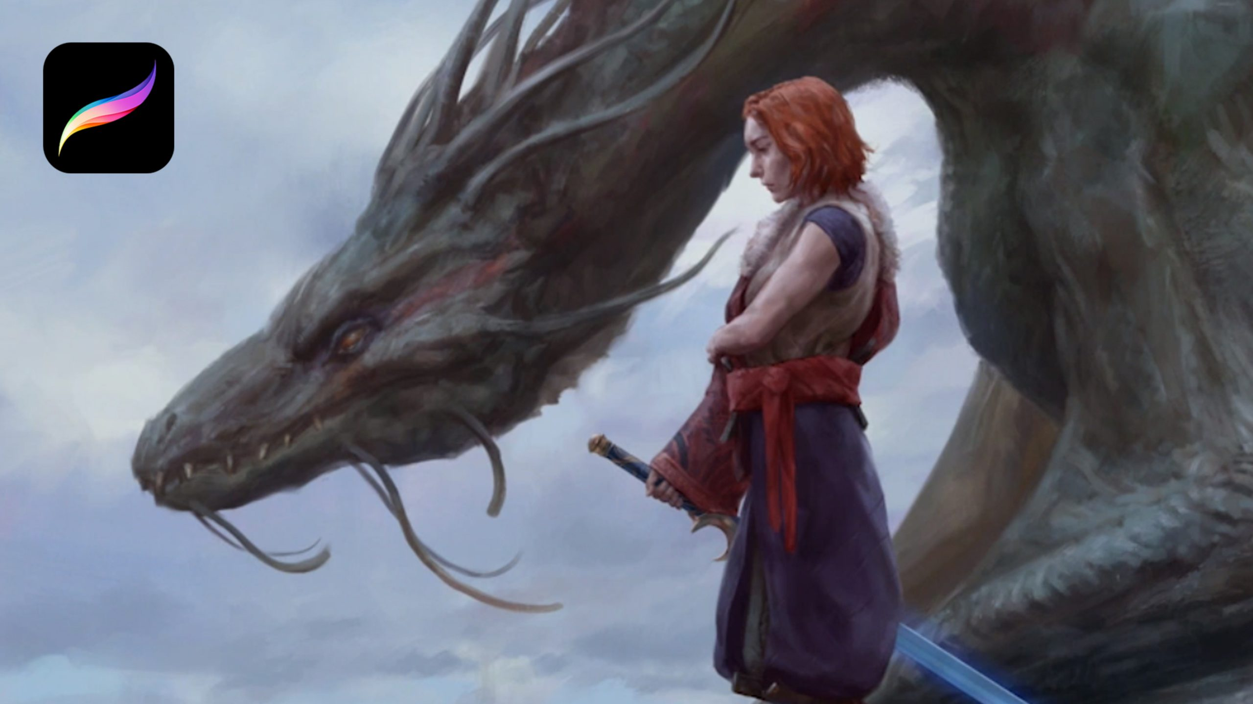 A warrior stands next to a dragon