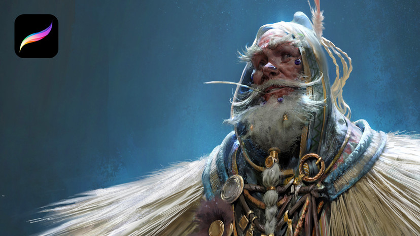 Illustration of an older man wearing fancy olden clothing
