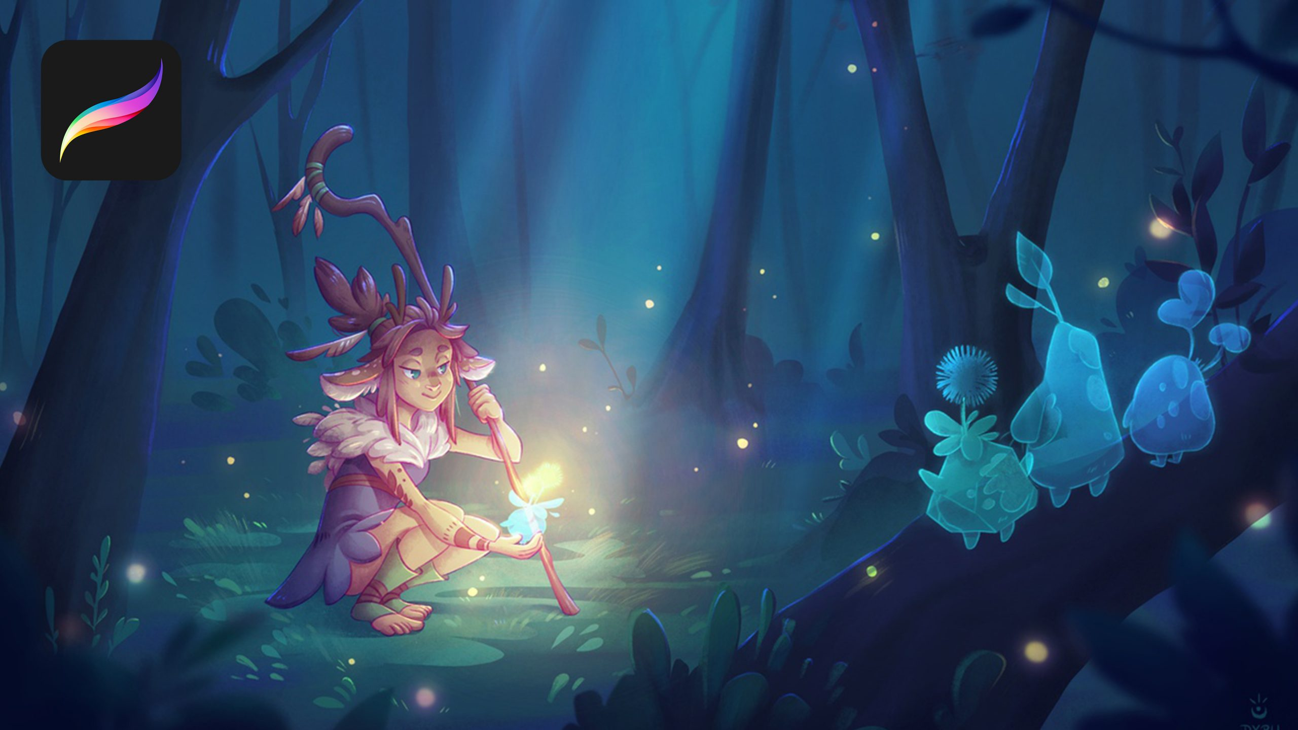 A stylized faun looks at a glowing forest creature