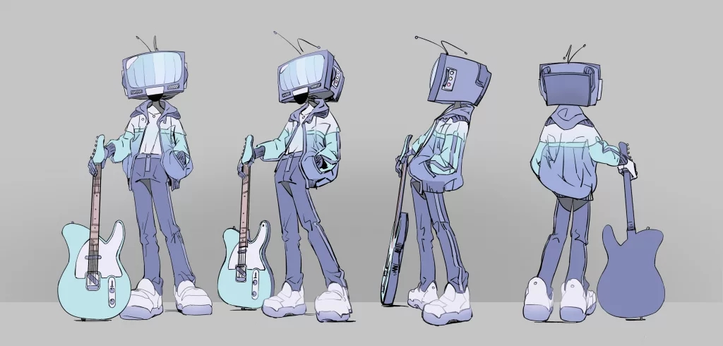 A character with a television for a head stands nonchalantly, holding a guitar.