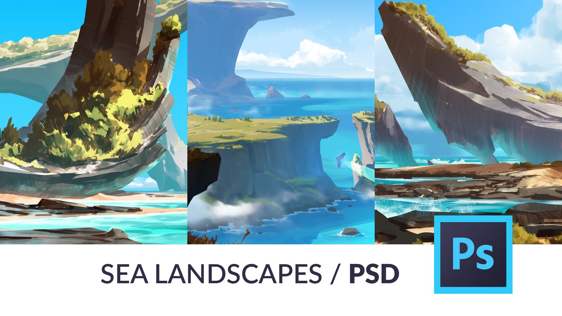 overview of the Sea Landscapes / PSD pack