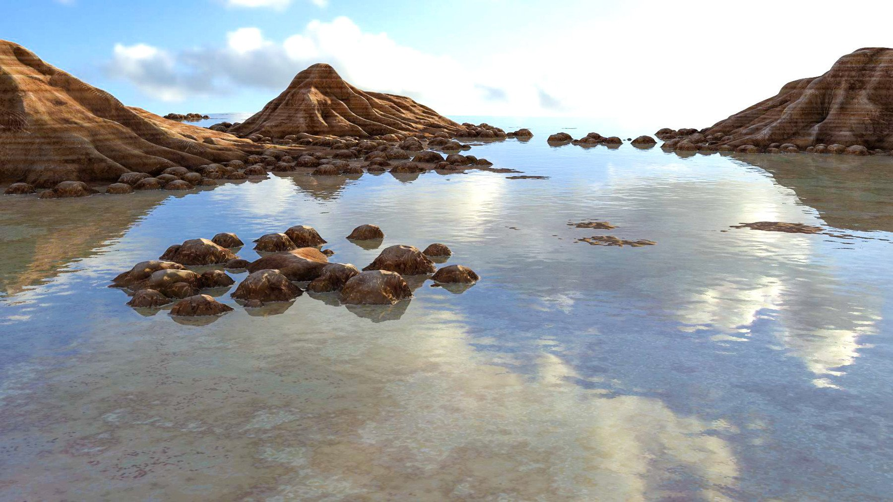 rocky islands jot a calm watery horizon